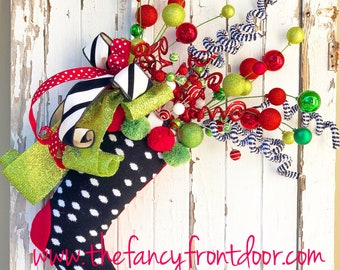 Whimsical Christmas Stocking Doorhanger