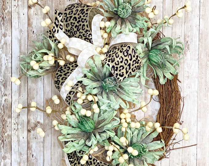 Featured listing image: Succulent Wreath, Everyday Wreath For Front Door, Leopard Home Decor, Mantle Decor, Housewarming Gift, Wedding Present, Succulent Decor