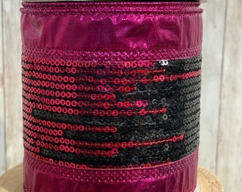 4in hot pink and black sequin ribbon~ 10yards ~ Wired