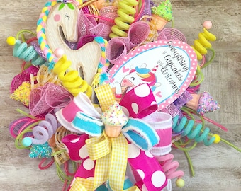 Unicorn Theme Party Decoration, Unicorn Wreath, Birthday Party Door Hanger, Cupcake Wreath, Birthday gift for girl, Unicorn lover gift