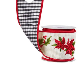 "4"" x 5 yards Raz, Poinsettia with Holly wired ribbon"