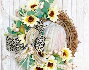 Fall Door Wreath, Rustic Pumpkin Wreath, Sunflower Fall Wreath, Farmhouse Fall, Leopard Fall Decor, Housewarming Gift, Thanksgiving decor