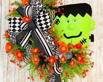 Halloween Door Wreath, Frankenstein Wreath, Halloween Door Hanger, Frankenstein Door Hanger, Halloween Party, Halloween home decor