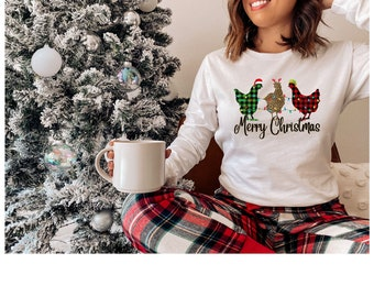 Designer Chickens Christmas T-Shirt; Crafter Christmas Present; Unisex Jersey Long Sleeve Tee