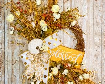 Fall Door Wreath, Farmhouse Autumn Wreath, Floral Fall Wreath, Farmhouse Fall, Leopard Fall Decor, Housewarming Gift, Thanksgiving decor