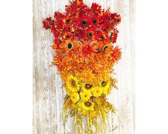XL Fall Door Swag, Ombré Autumn Wreath, Floral Fall Wreath, Farmhouse Fall, Fall Wedding Decor, Housewarming Gift, Thanksgiving decor