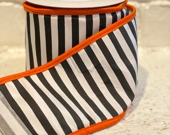 "4"" Black Horizontal Stripe w/ Orange Boarder ~ 10yards ~ Wired"
