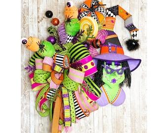 XL Halloween Wreath~ Halloween Door Hanger ~ Whimsical Halloween Decor~ Witch Wreath ~ Witch Door Hanger
