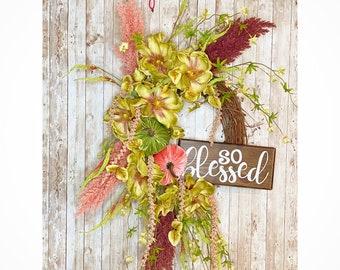 Fall Magnolia Wreath, Floral Fall Wreath, Velvet Pumpkin Wreath, Housewarming Gift, Thanksgiving decor, Fall Wedding Decor, Mantle Wreath