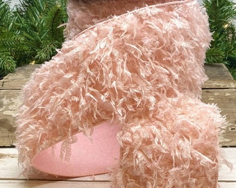 """4"""" Pink Ostrich Feather Wired Ribbon ~ Wired ~ 10yards"""