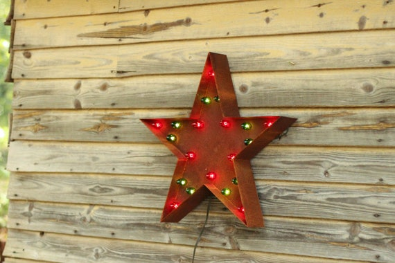 christmas star rustic marquee light sign american made industrial farmhouse fathers day gift