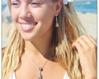 Hand Made Sea Turtle Earrings and Necklace Set Hypo Allergenic Silver Made in California