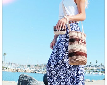 Hand Made in California Large Crochet Beach Purse Cross Body Bucket Drawstring Bag with matching zipper Coin Makeup Key Purse - Mother Earth