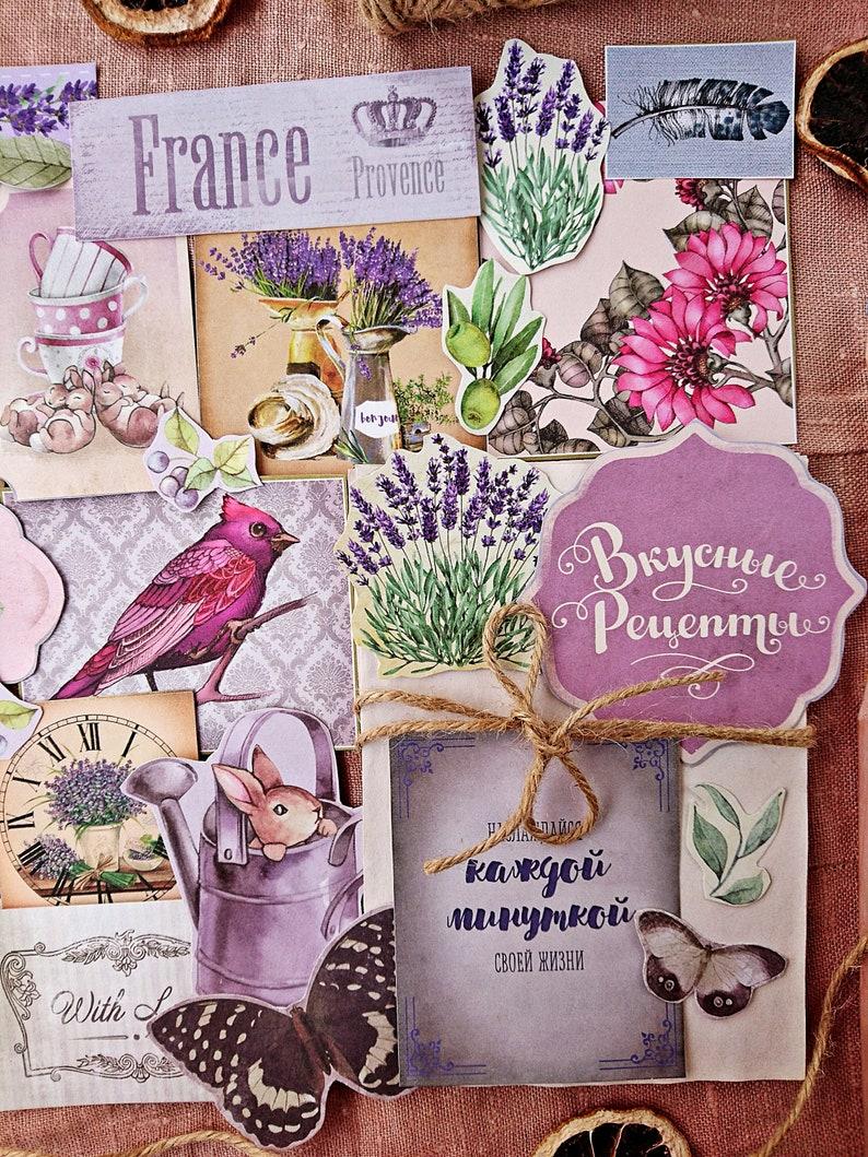 Provence Inspiration Vintage Style Paper Ephemera Pack Retro Floral Birds 50 Pieces Junk Journal Collage Supplies Set Scrapbooking Kit