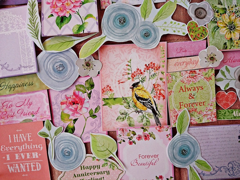 Botanical Plants Scrapbooking Inspiration Pack Flower cut outs Floral Junk Journaling Flower Paper Ephemera Pack 45 pcs Birds Paper Kit