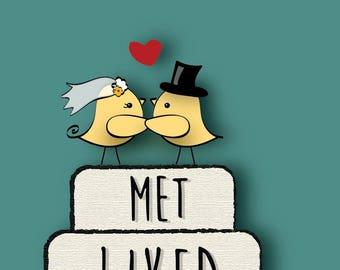 """Wedding Card """"Met, Liked, Loved, Keeping"""" - Downloadable"""