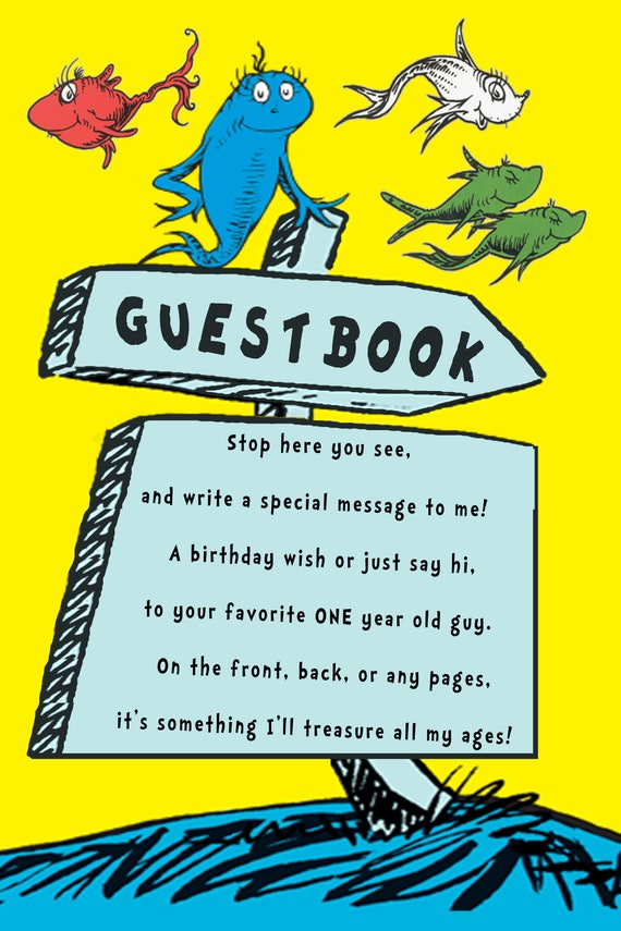One Fish Two Guestbook Sign For 1 Year Old Boy