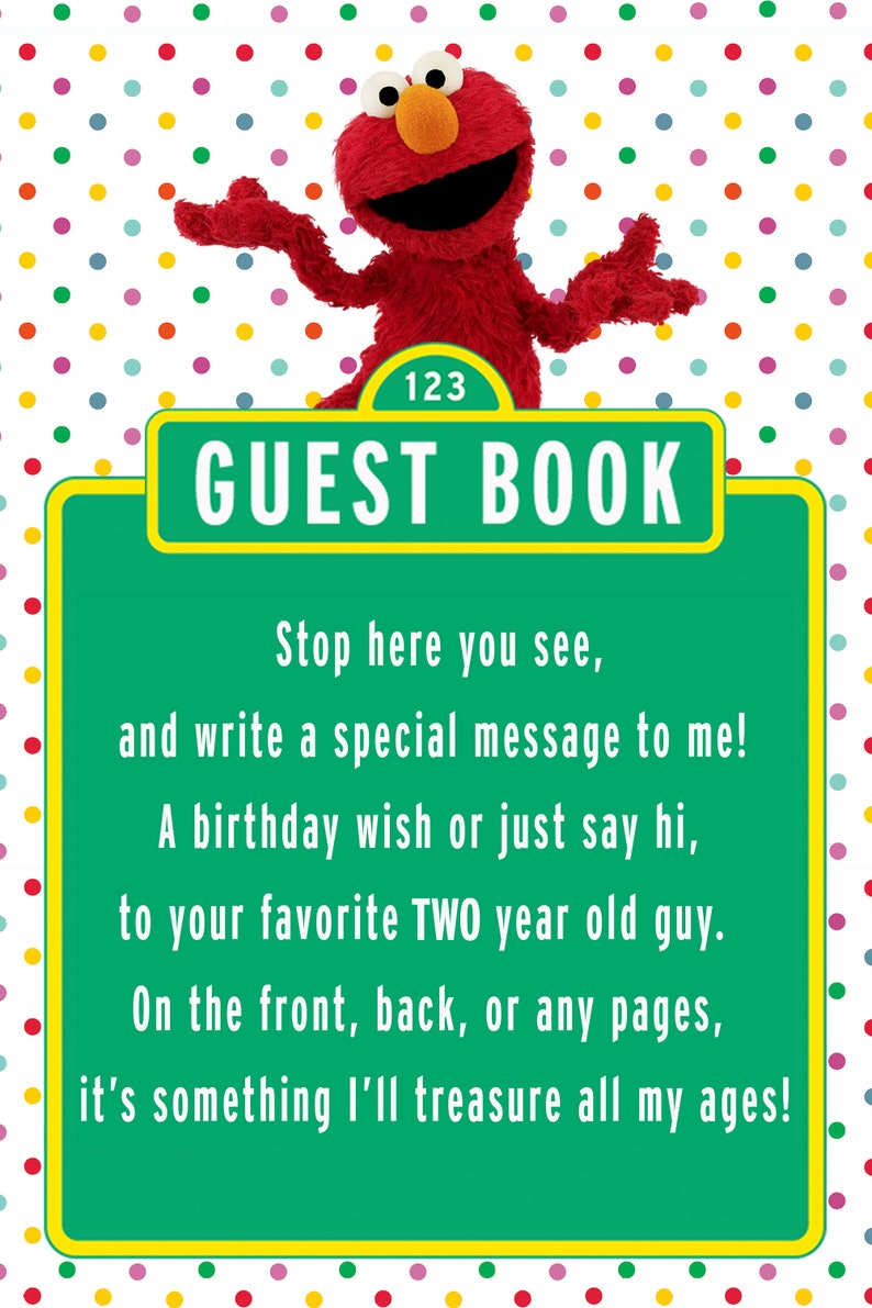 Elmo Birthday Guestbook Sign For 2 Year Old Boy Polka Dot