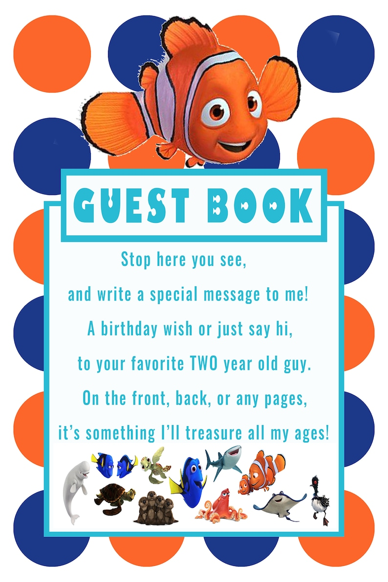 Finding Dory Nemo Guestbook Sign For 2 Year Old Boy