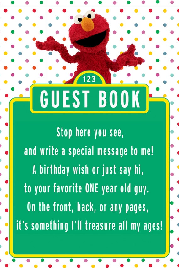 Elmo Guestbook Sign For 1 Year Old Boy Polka Dot
