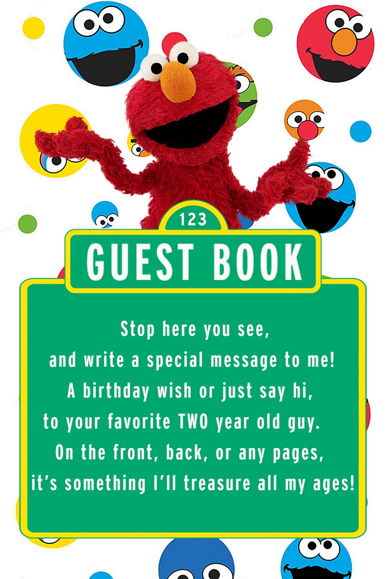 Sesame Street Elmo Guest Book Sign For 2 Year Old Boy
