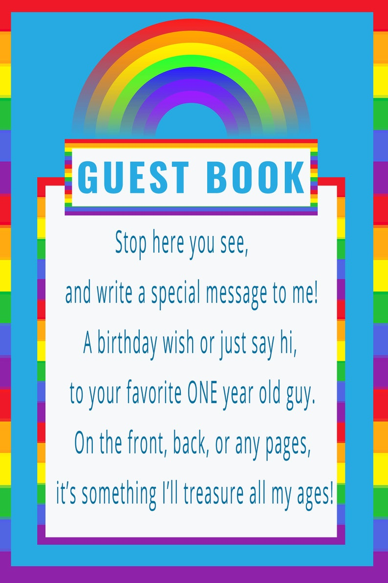 Rainbow Baby Guestbook Sign For 1 Year Old Boy