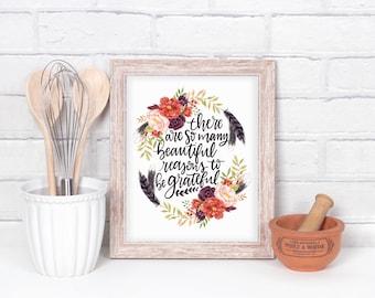Grateful Digital Print, Print at home, Hand lettered, Thanksgiving printable, Holiday Printable,  floral printable