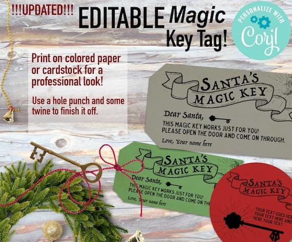 Editable Magic Key Tag Santas Magic Key Printable Personalized Magic Key Tag