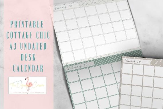 Printable Classic Green & Brown A3 undated Calendar, desk calendar, wall  calendar