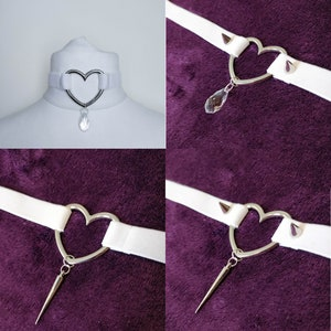 Black Elastic Velvet Choker Necklace With Heart Charm Blue Glass Heart Chains and Spike Pendant