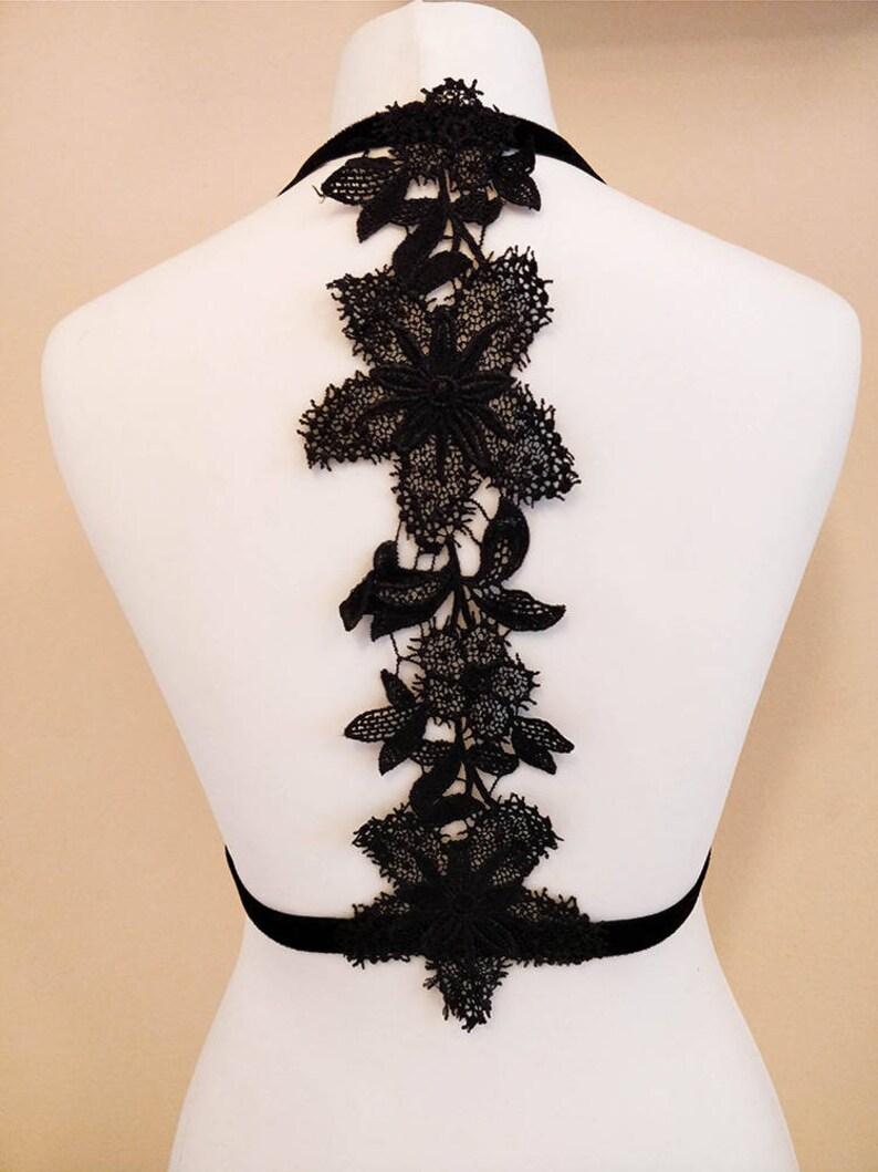 Elastic Lingerie Body Cage Black Velvet Harness Bra Lace Flower Applique