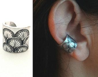 Helix earring Conch earring Cartilage earring Ear cuff no piercing Wide ear cuff non pierced Fake piercing Ear wrap Hand stamped