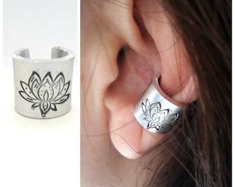 Ear cuff no piercing Lotus ear cuff Cartilage earring Helix earring Wide ear cuff non pierced Fake piercing Ear wrap Hand stamped