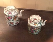 Antique Chinese porcelain china teapots Famille Rose.