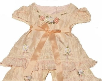Victorian Baby dress, Baby Girls Dress and Pantaloons, Silk Baby Girls Capri Set,  Silk Baby Girls Dress and Pantaloon Set, Silk Girls Dress