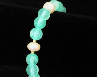 Jade bracelet, Aqua beaded bracelet, Gemstone Bracelet