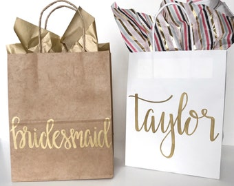 Personalized Gift Bags, Bridesmaid Gift Bags, Wedding Gift Bags, Bridal Shower Gift Bag, Custom Gift Bags, Name Gift Bags