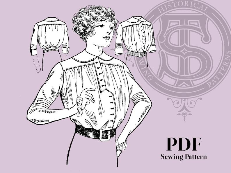 Edwardian Blouses |  Lace Blouses, Sweaters, Vests Essie - 1910s Shirt Waist 34
