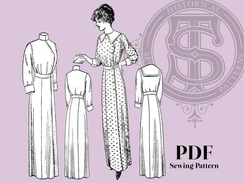 Edwardian Sewing Patterns- Dresses, Skirts, Blouses, Costumes Miriam - 1910s House Dress 34