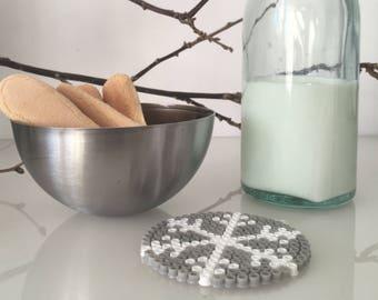 Snowflake mug mat, Perler beads coaster,  Winter coasters, Snowflake coaster