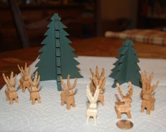 Handcrafted Wood Christmas Trees and Reindeers