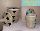 Black and white ,Natural Straw storage basket with lid , Handmade , storage solutions , handwork , hand woven, Different color available ,