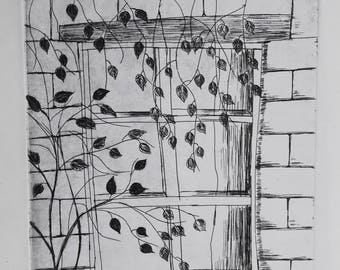 Original ETS ' window with leaves '. Hand printed Series 1, 1/4.