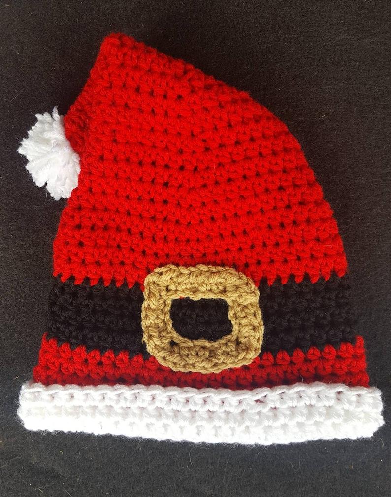 CROCHET SANTA HAT Christmas Pajamas Crochet Christmas Hat Baby Santa Hat Christmas Photo Prop