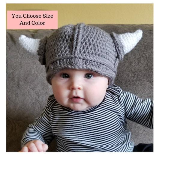 Hot Sale Newborn Baby Kids Viking Hat Crochet Horn Cap Knitted Beanie Costume US