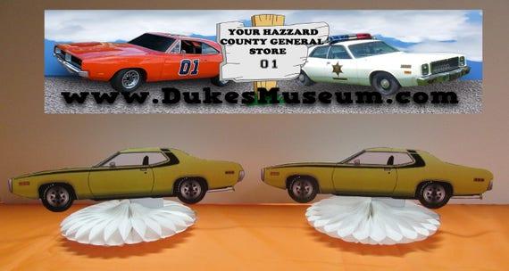 Marvelous Dukes Of Hazzard Birthday Daisys Plymouth Car Table Top Etsy Personalised Birthday Cards Arneslily Jamesorg