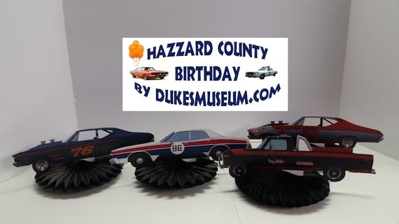 Enjoyable Dukes Of Hazzard Birthday 4 Race Car Table Top Pieces Etsy Personalised Birthday Cards Arneslily Jamesorg