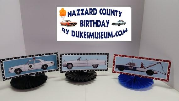 Prime Dukes Of Hazzard Birthday Hazzard County Cars Table Top Etsy Personalised Birthday Cards Arneslily Jamesorg