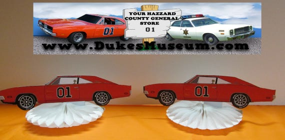 Stupendous Dukes Of Hazzard Birthday General Lee Car Table Top Pieces Etsy Personalised Birthday Cards Arneslily Jamesorg
