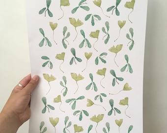 print leaves, natural art, print leaves art, watercolor leaves, watercolor art, print watercolor, print wall decoration, print narutal art